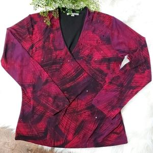 Ann Klein Long Sleeve Embellished Faux Wrap Blouse